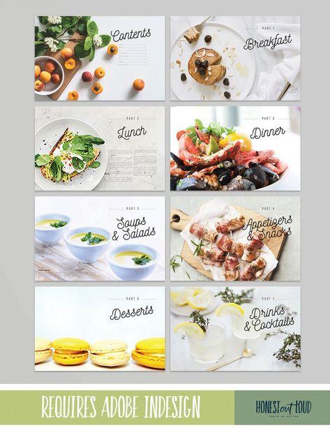 Cookbook and Recipe Template for Adobe InDesign Instant Recipe Book Design, Cookbook Design, Cookbook Template, Menu Template, Recipe Book Templates, Templates Free, Adobe Indesign, Comida Delivery, Magazin Design