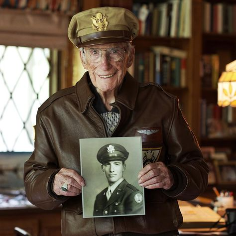 Not only did Herb want to put on his uniform and medals, but he also brought out his bomber jacket. He's a champ.  Read more about Herb and his World War Two experience as a B-17 pilot on www.theygaveitall.org - thanks! @patrickmccuephotography  - #thememoriestrunk