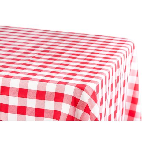 Gingham Checkered Rectangular Polyester Tablecloth 60 X102 Red