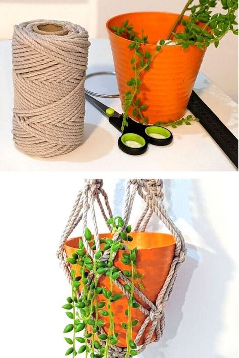 Get on the latest trend, if you're wondering these questions: How do you Macrame a plant hanger for beginners? How many yards does it take to make a macrame plant hanger? What size cord is best for macrame?How much macrame cord do I need for a plant hanger? then check out this easy hanging macramé planter tutorial.