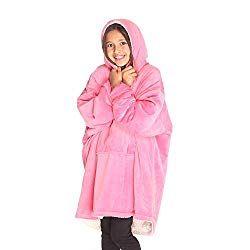 One Size Fits All THE COMFY Kids: Original Blanket Sweatshirt Wearable Sherpa Hoodie Pink Multiple Colors Boys Shark Tank Cozy Warm Soft Blue Girls Children