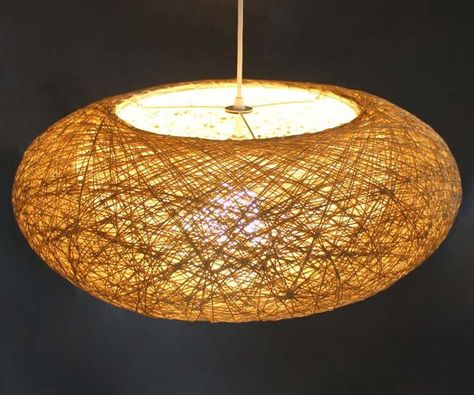 Double Lampshade Hemp Rope Oval Pendant Lightings-Decor Lightings-Home Lightings-Bar Lightings Rural