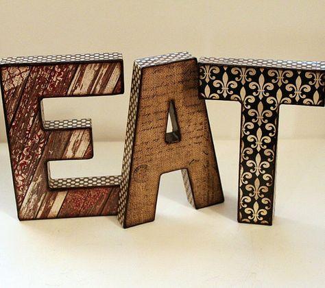 EAT Letters Decoupage Kitchen Decor by JunebugsCC on Etsy, $50.00