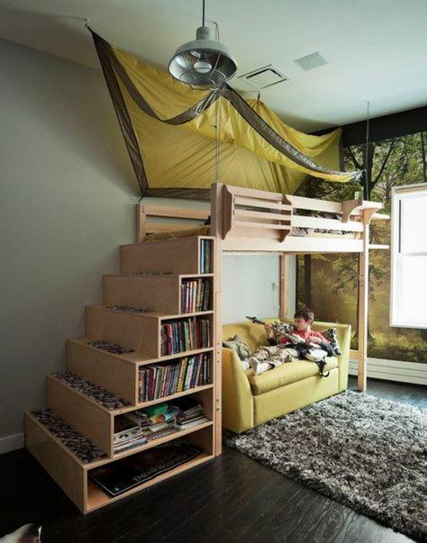 Kinderhochbett treppe  Kinderzimmergestaltung Hochbett mit praktischer Treppe zur ...