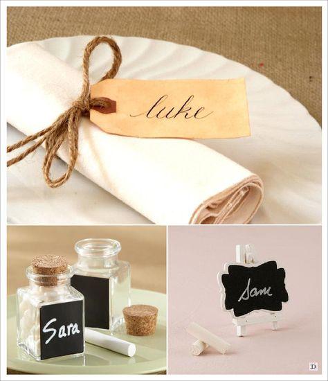 mariage rustique champêtre marque place porte nom tag kraft mini pot ardoise chevalet ardoise