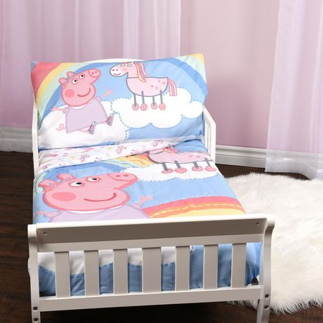 Peppa Pig Rainbow Unicorn 3 Piece Toddler Bedding Set Multi