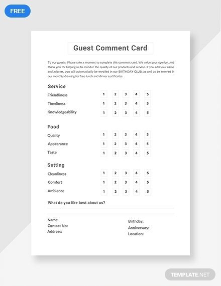 Guest Comment Card Template Free Pdf Pdf Word Apple Pages Free Business Card Templates Budget Planner Template Card Templates Free