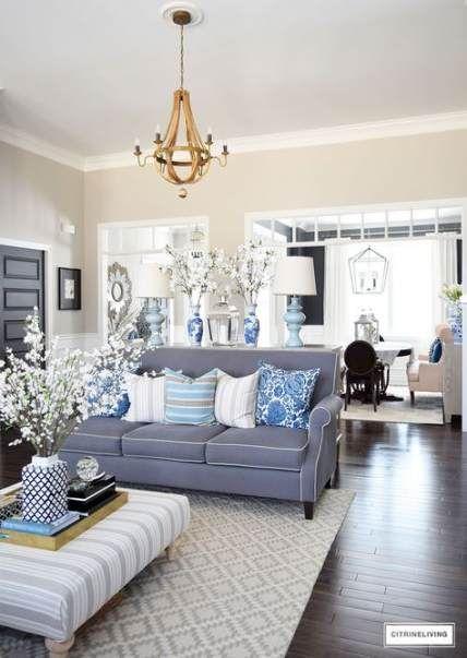 Living Room Gray Couch Tan Walls Blue Accents 33 Ideas Livingroom Coastal Decorating Living Room Blue Living Room Coastal Living Rooms