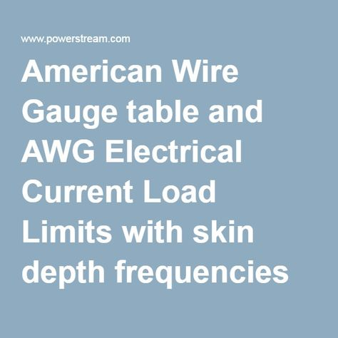 American wire gauge table and awg electrical current load limits american wire gauge table and awg electrical current load limits with skin depth frequencies and wire breaking strength elec dedign pinterest keyboard keysfo Image collections