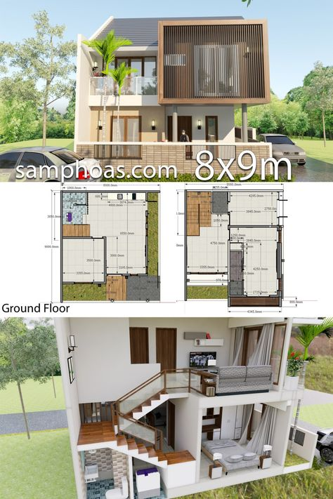 Interior Design Plan 8x9m With 3 Bedrooms Planos De Casas
