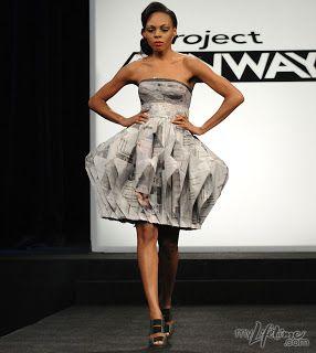 Shirin's paper fashion dress - project runway - newspaper dress