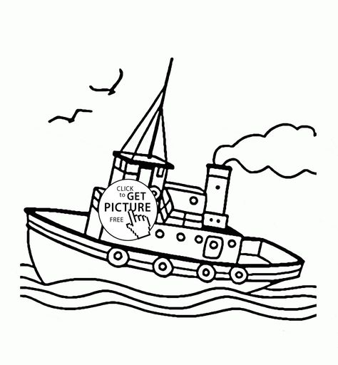 Tugboat Coloring Page For Kids Transportation Coloring Pages
