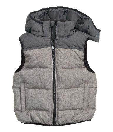 Chaleco acolchado con capucha | Gris oscuro jaspeado | Niños | H&M MX