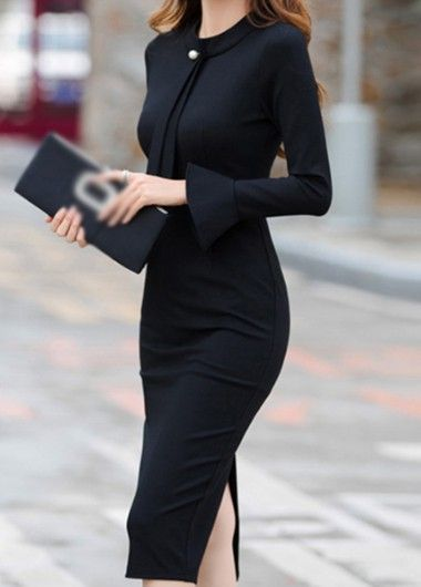 Back Slit Black Round Neck Sheath Dress - Back Slit Black Round Neck Sheath Dress – modilys Source by - Elegant Dresses For Women, Sexy Dresses, Dress Outfits, Casual Dresses, Fashion Dresses, 1950s Dresses, Sheath Dresses, Black Women Fashion, Look Fashion