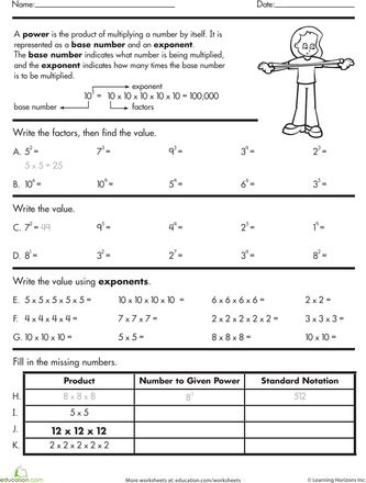 Exponents Practice Worksheet Education Com Middle School Math Exponent Practice Homeschool Math