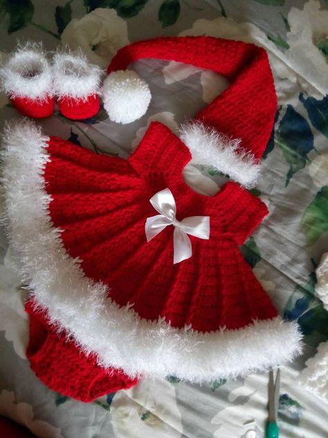 Vestido de bebé ganchillo de Navidad con vestido sombrero | Etsy