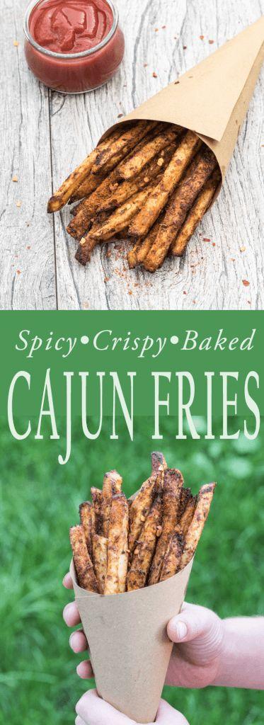 Crispy, Spicy, baked Cajun french fries recipe , VeganfamilyRecipes.com #vegan #dairyfree #spicyfood