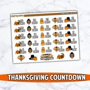 This Listing Is For Our Thanksgiving Countdown Stickers All Of Our Stickers Are Available In Matte And Gloss In 2020 Thanksgiving Countdown Countdown Planner Stickers