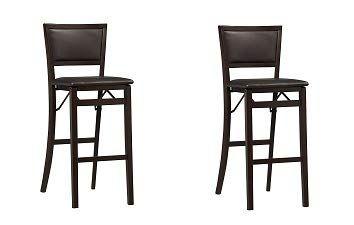 Linon Keira Pad Back Folding Bar Stool 2 Pack Bar Stools Folding Bar Stools Tall Bar Stools Folding bar stool with back