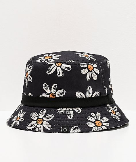 Fetch a florally festive piece for your fashionable fits with the Bucket O' Daisies black bucket hat from Empyre! This black bucket hat features an allover print of white daisies throughout for a unique, casual look, while the comfortable cotton construct Bucket Hat Outfit, Black Bucket Hat, Accesorios Casual, Kentucky Derby Hats, Cute Hats, Outfits With Hats, Victorian Fashion, Steampunk Fashion, Fashion Plates