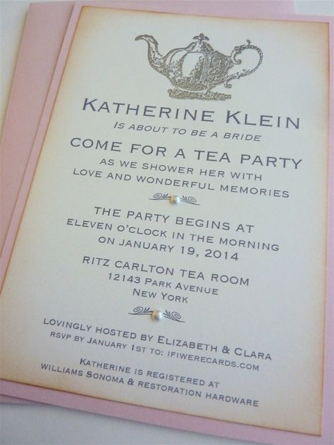 Tea Party Invitation Bridal Shower Vintage by ifiwerecards on Etsy...I would LOVE a tea party for a bridal shower!