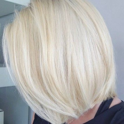1a24b4ae11a How gorgeous is this perfectly  platinum  bob ! This  classic style screams   fun  flirty and ready to conquer  summer. Always use a thermal protectant  when ...