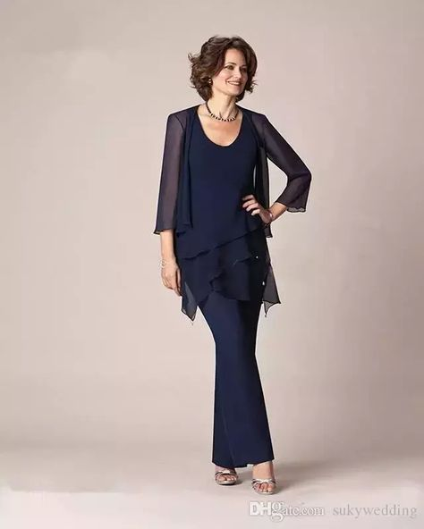 2a83dbd3c9d Navy Blue Chiffon Mother Of the Bride Pant Suits Long Sleeves Plus Size  Three Pieces Formal