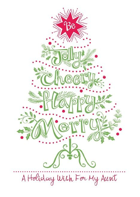 Christmas Tree Jolly Cheery Happy Merry For My Aunt Card Ad Affiliate Jolly Cheery Christmas Tree Mother Card Dad Cards Cards For Friends