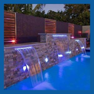 Hot Item Spa Waterfall With Led Light Waterfall For Swimming Pool Indoor Artificial Waterfalls Pool Water Features Pool Waterfall Spa Waterfall