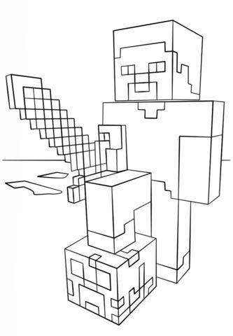 Steve Con Espada De Diamantes De Minecraft Dibujo Para Colorear