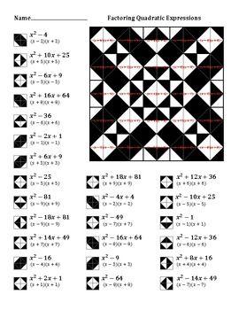 Factoring Quadratic Expressions Color Worksheet 3 Printable