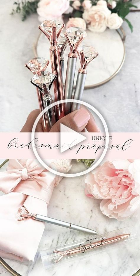 Diamond Pens make a cute inexpensive bridesmaid proposal gift for any bride on a budget! These cute diamond pens can be used on their own or add a gift box labeled with will you be my bridesmaid? (or other bridal party title) - pens come in metallic colors with a large acrylic diamond shaped top -