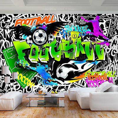 Vlies Fototapete Graffiti Bunt Steinwand Tapete Fussball
