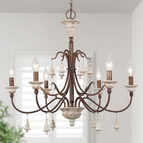 LNC HOME Antiqued Country Rustic Chandelier with Bells