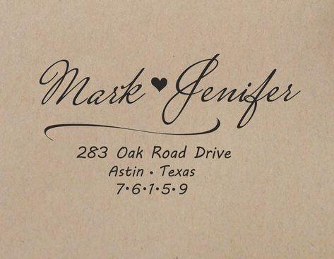 Wedding Return Address Stamp Custom Rubber Personalized