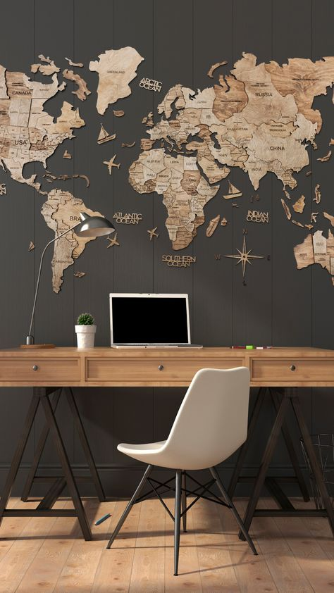Wood World Map, World Map Decor, World Map Wall Art, Home Room Design, Home Office Design, Home Office Decor, House Design, Travel Room Decor, Diy Room Decor