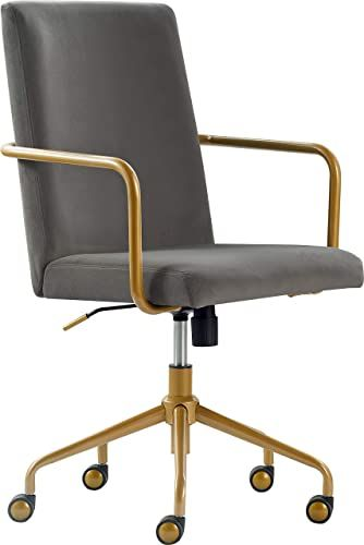 Buy Elle Decor Giselle Modern Home Office Desk Chair High Back Adjustable Computer Chair Gold Arms Base Wheels Velvet Fabric Light Gray Online Wouldtops In 2020 Office Chair Modern Home