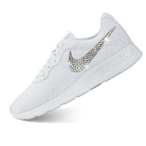 Custom Bling Womens Nike Tanjun White 9deee7ca0a