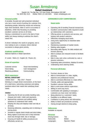 Retail Cv Template Project Manager Resume Manager Resume