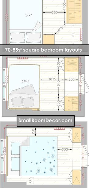 16 Standart And 2 Extreme Small Bedroom Layout Ideas From 65 To 140 Sf Small Bedroom Layout Bedroom Layouts Small Bedroom