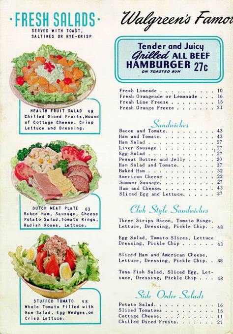 Who Wants To Meet At Walgreen S For Lunch Vintage Menu Retro Recipes Vintage Recipes