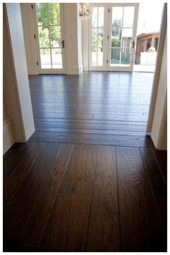 Dark Wood Wide Planks Without The Interruption Of Furniture Note The Direction Change At The D Wood Floors Wide Plank Wide Plank Flooring Black Wood Floors