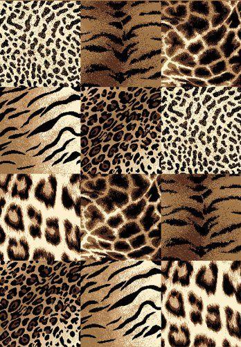 Rug Runner Creative Home Safari Area Rug Brown Checkered Cheetah Animal Print u
