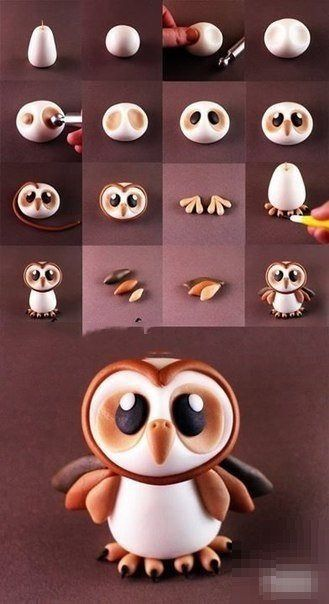 Fimo fondant pâte à sucre pâte damande. I did this for a Christmas cake and gave the owl a little santa hat and it The post 6 tutos doiseaux! Fimo fondant pâte à sucre pâte damande. appeared first on Salzteig Rezepte. Polymer Clay Animals, Fimo Clay, Polymer Clay Projects, Polymer Clay Charms, Polymer Clay Creations, Polymer Clay Tutorials, Polymer Clay Figures, Ceramics Projects, Fondant Tutorial