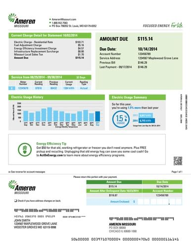 We Make You A Personalized Utility Statement From Ameren Or The