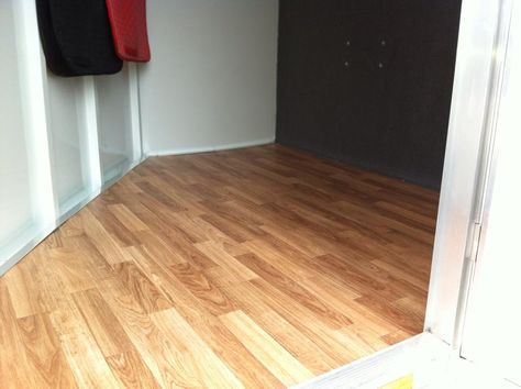 Glueless vinyl flooring laid over existing carpet, then insulation, then plywood in horse trailer dressing area  #horse trailer organization