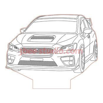 Subaru Impreza Wrx Sti 3d Illusion Lamp Plan Vector File For Laser And Cnc 3bee Studio Wrx 3d Illusions Subaru