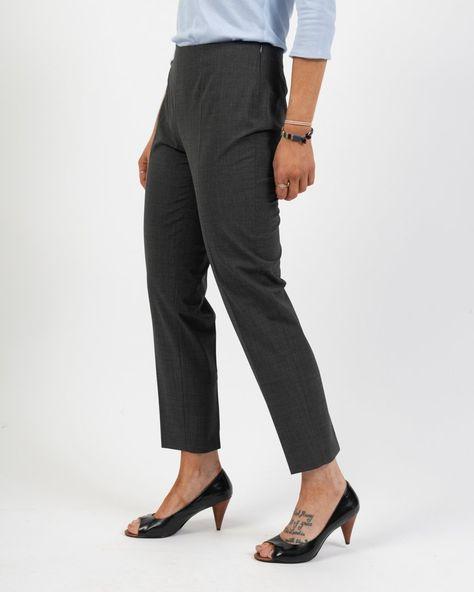 Piazza Sempione Side Zip Melange Trouser - Charcoal / 48