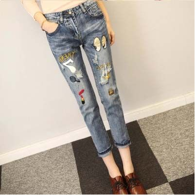 f0608fc0811 Promotion price 2017 baggy jeans embroidered vaqueros rotos mujer Pencil  pants Leisure patch with sequin jeans just only  20.73 with free shipping  worldwide ...