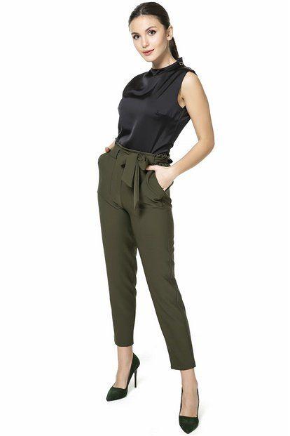 Rahat Kombinlerden Hoslaniyorsan Haki Kusakli Yuksek Bel Pantolon Vazgecilmez Parcan Olacak Klasik Yuksek Bel Dusuk Bel H Pantolon Yuksek Bel Moda Stilleri